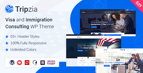 Tripzia – Immigration Consulting WordPress Theme Preview