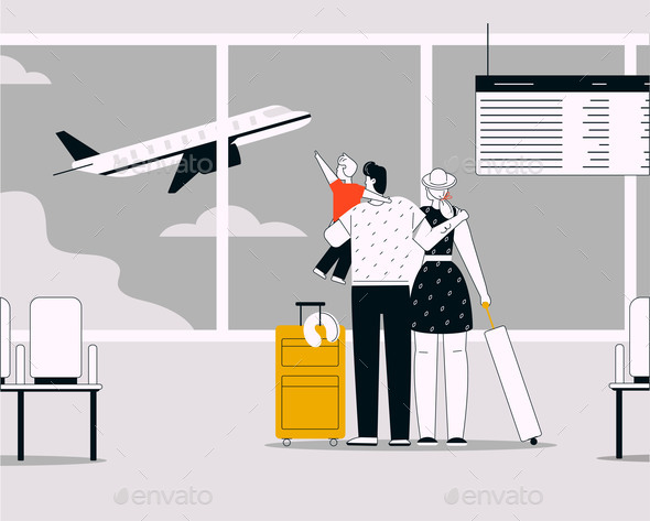 Vector Linear Illustration of Family Travelling