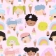 Seamless Pattern of Cute Kid Faces with Ice Cream - GraphicRiver Item for Sale