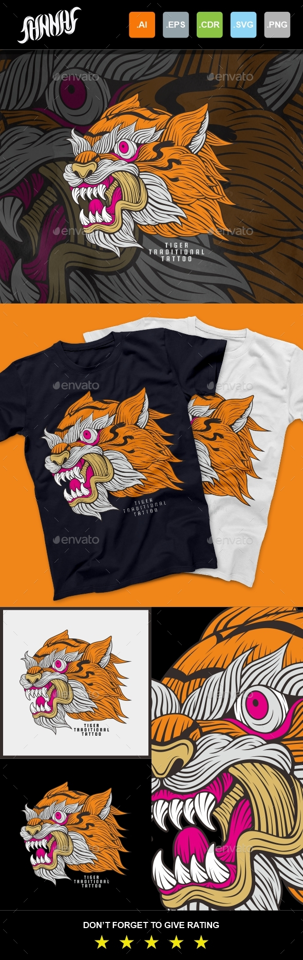 Tiger Traditional Tattoo T-Shirt Design