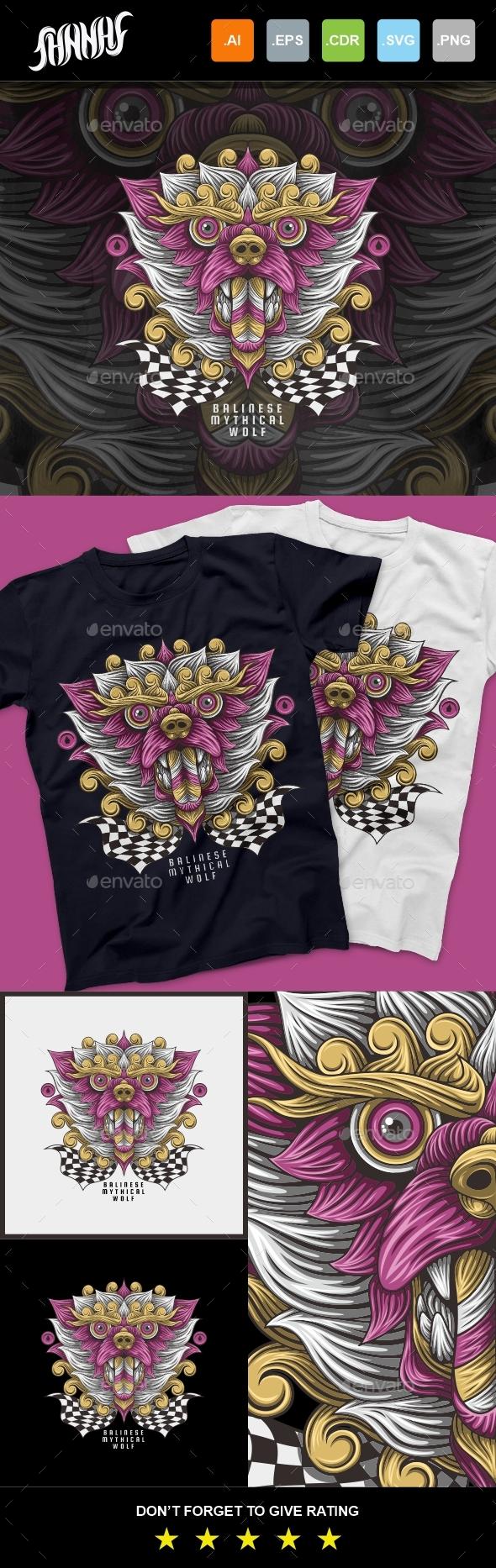 Balinese Mytical Wolf T-Shirt Design