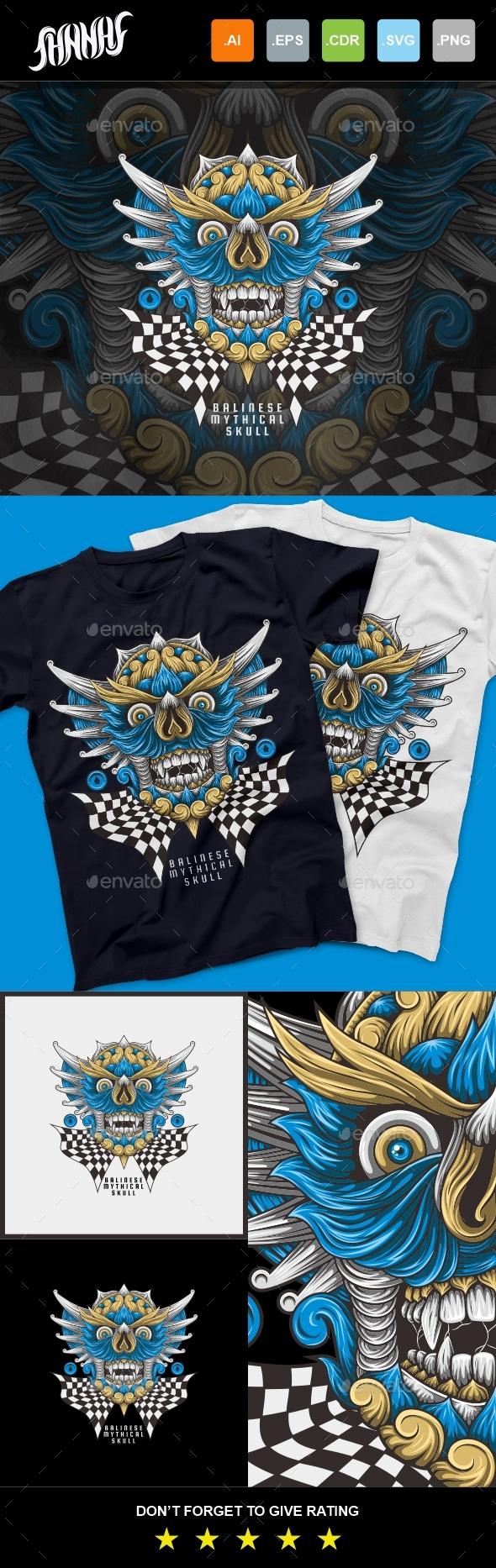 Balinese Mytical Skull T-Shirt Design