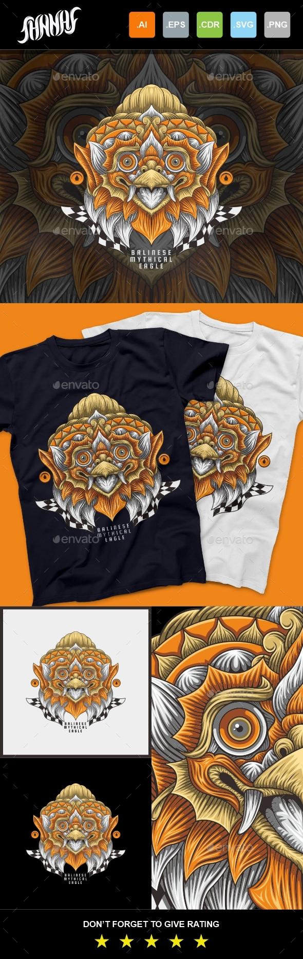 Balinese Mytical Eagle T-Shirt Design