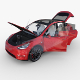 Tesla Model Y AWD Red with interior and chassis - 3DOcean Item for Sale