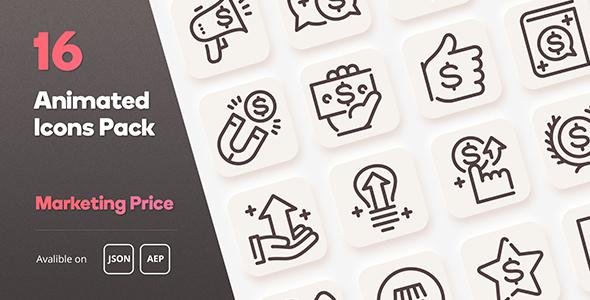 Marketing Price Animated Icons Pack - Lottie Json SVG