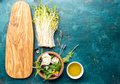 Ingredients for healthy salad - lettuce, sprouts, edibles flowers and arugula. Flat lay, copy space - PhotoDune Item for Sale