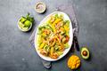 Fresh Shrimps, Mango Avocado lettuce salad, olive oil and lemon dressing. healthy food. Top view - PhotoDune Item for Sale