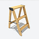 Wooden Ladder Animated RIG PBR