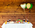 Table full of vegetables and meat air balloons on wooden background - PhotoDune Item for Sale