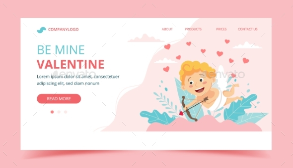 Valentine s Day with Cupid. Landing Page Design