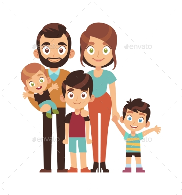 Happy Parents with Children. Mom Dad and Sons
