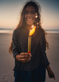 Young woman with fireworks - PhotoDune Item for Sale