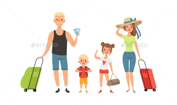 Family Tourists. Man Woman Children with Baggage