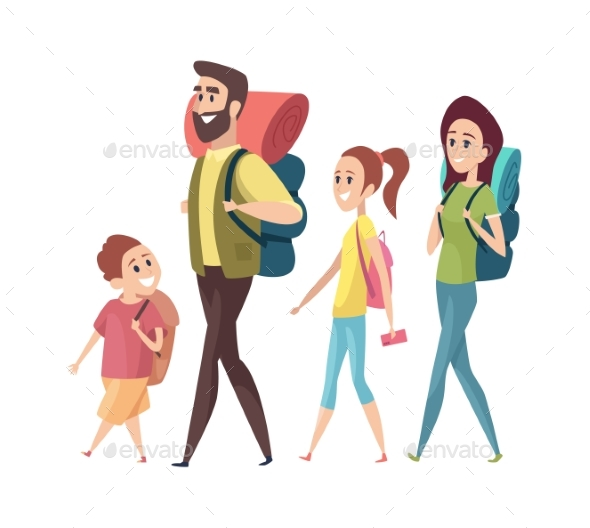 Hiking. Mom Dad Daughter Son with Backpacks
