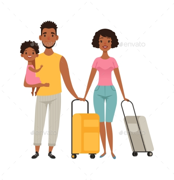 Vacation People with Suitcases, Family Goes on
