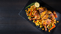 Butterflied grilled whole chicken with roasted vegetables and potatoes - PhotoDune Item for Sale