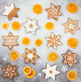 Christmas ginger cookies in the shape snowflakes and dried orange - PhotoDune Item for Sale