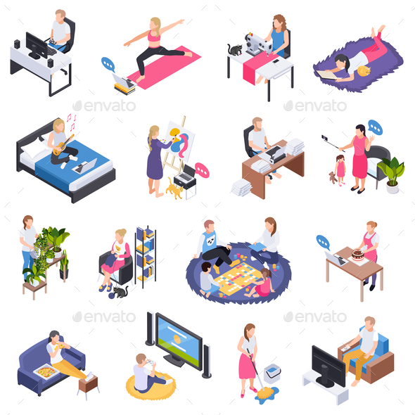 Staying Home Isometric Set