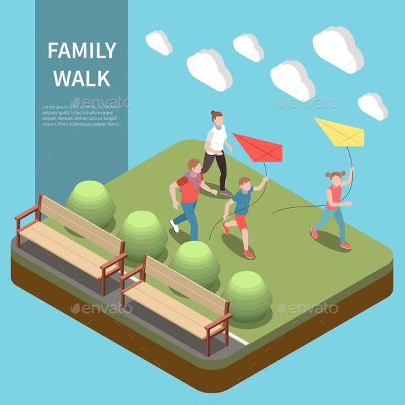 Family Leisure Playing Isometric Composition
