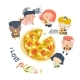 Cartoon Hungry Children Eating Pizza - GraphicRiver Item for Sale