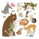 Cartoon Set with Animals Holding Bouquet of Flowers - GraphicRiver Item for Sale