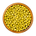 Canned green peas in wooden bowl - PhotoDune Item for Sale