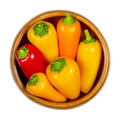 Colorful bell peppers, fresh sweet peppers, capsicum in wooden bowl - PhotoDune Item for Sale