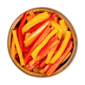 A heap of sliced bell peppers, sweet peppers, capsicum in a wooden bowl - PhotoDune Item for Sale