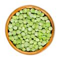 Frozen green peas, seeds of Pisum sativum in wooden bowl - PhotoDune Item for Sale