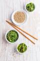 Traditional Japanese wakame salad with sesam seeds. Healthy seaweed salad. - PhotoDune Item for Sale