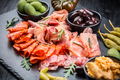 Platter of antipasti with a mixture of salami, prosciutto, chorizo, peppers, tomatoes and olives - PhotoDune Item for Sale