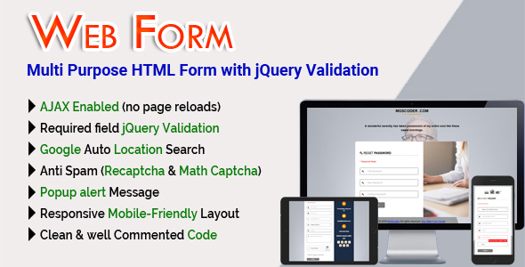 Web Form - Multi Purpose HTML Form with jQuery Validation Download