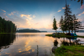 Mountain lake sunset with beautiful reflections - PhotoDune Item for Sale