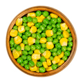 Green peas and corn, mixed vegetables in wooden bowl - PhotoDune Item for Sale