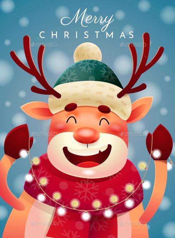 Happy Reindeer Wishing You a Merry Christmas