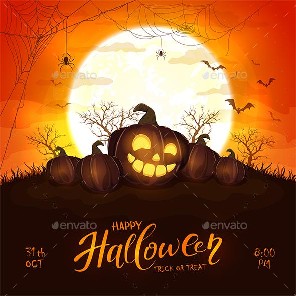 Halloween Pumpkin on Orange Background with Moon