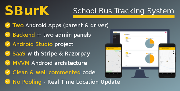 SBurK - School Bus Tracker - Two Android Apps + Backend + Admin panels - SaaS Download