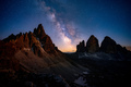 Mliky way over the Tre Cime, Alps Mountain, Dolomites, Italy - PhotoDune Item for Sale