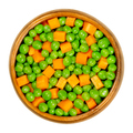 Green peas and carrot cubes, mixed vegetables in wooden bowl - PhotoDune Item for Sale