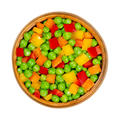 Green peas and diced bell peppers, mixed vegetables in wooden bowl - PhotoDune Item for Sale