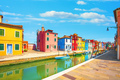 Venice landmark, Burano island canal, colorful houses and boats, Italy - PhotoDune Item for Sale