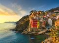 Riomaggiore town, cape and sea landscape at sunset. Cinque Terre, Liguria, Italy - PhotoDune Item for Sale