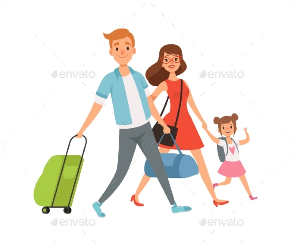 People with Suitcase. Family on Vacation, Travel