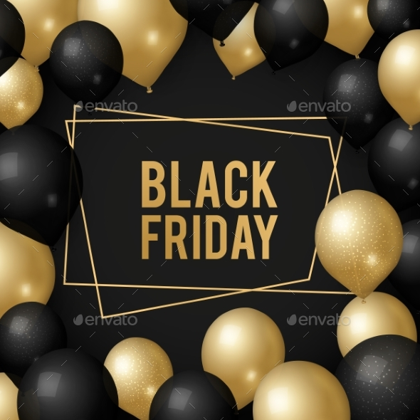 Black Friday Background. Gold Balloons, Sale