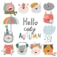 Muzzles Cats with Autumn Elements. Hello - GraphicRiver Item for Sale