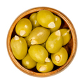 Almond stuffed green olives in a wooden bowl - PhotoDune Item for Sale