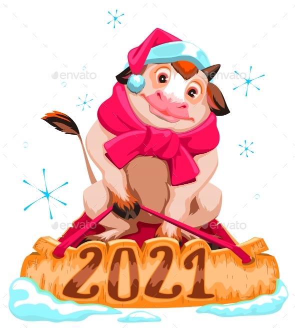 Bull Symbol of 2021 Christmas Cow in Santa Hat
