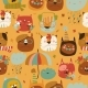 Seamless Pattern with Muzzles Cats and Autumn - GraphicRiver Item for Sale