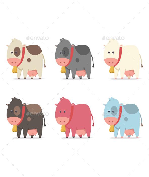 Cow Simple Vector Cartoon Set