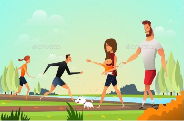 Happy Family Walking Dog